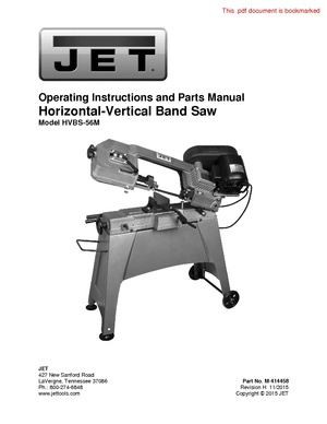 Jet Horizontal band saw model 414458 manual.pdf