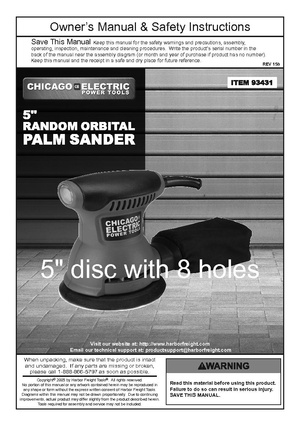 Chicago Electric 5 inch random orbital disc palm sander.pdf