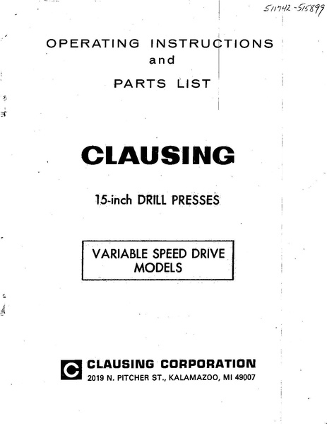 File:Clausing 15 in drill press model 1672 pdf - makerspace