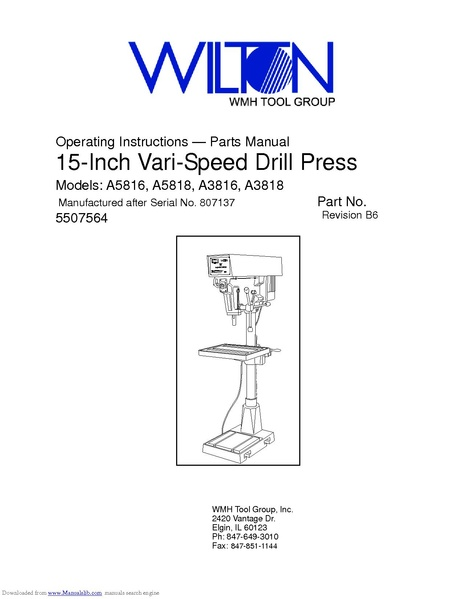 File:Wilton 15 inch drill press A5816 pdf - makerspace
