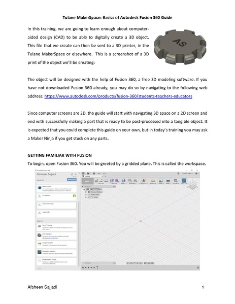 Tulane MakerSpace: Basics of Autodesk Fusion 360 Guide In