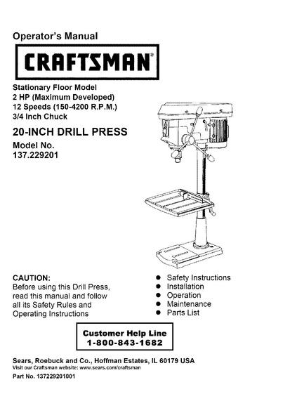 File:Sears 20 inch drill press 137-229200 pdf - makerspace tulane edu